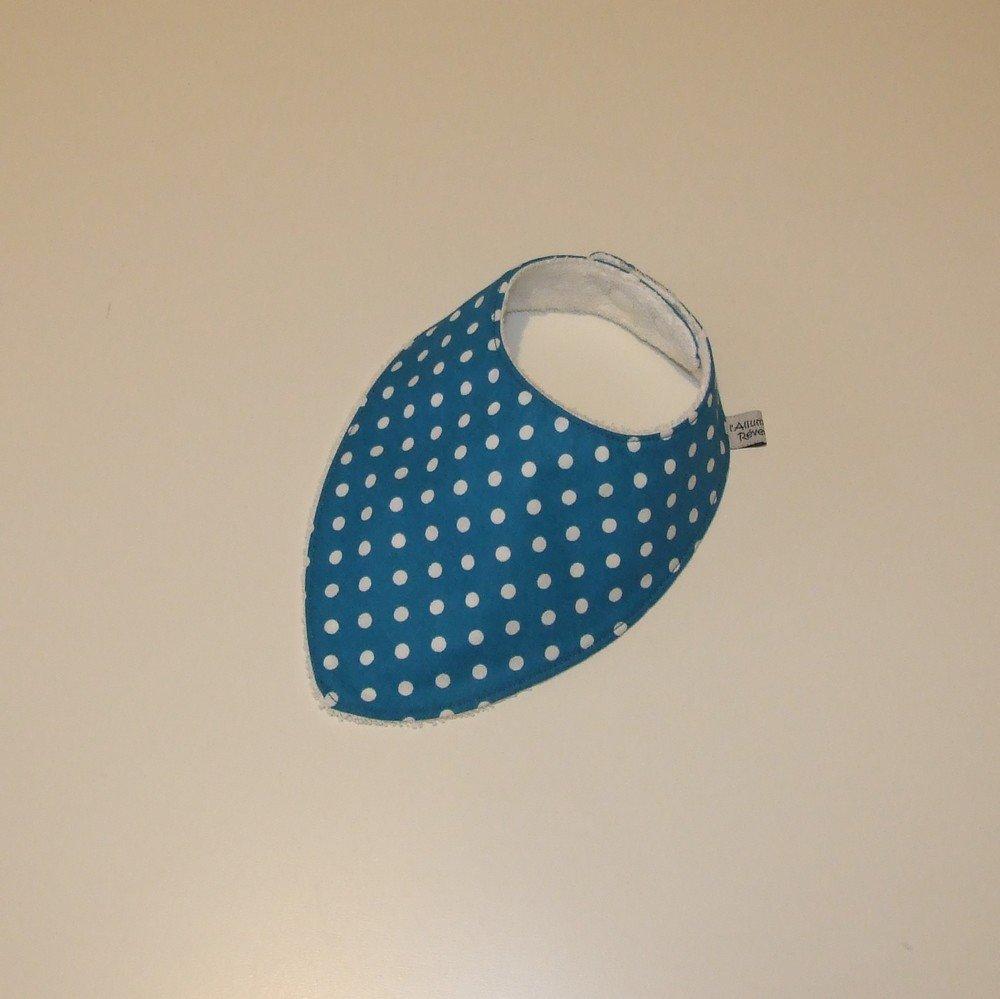 Bavoir bandana imprimé pois sur fond bleu--9995142132270