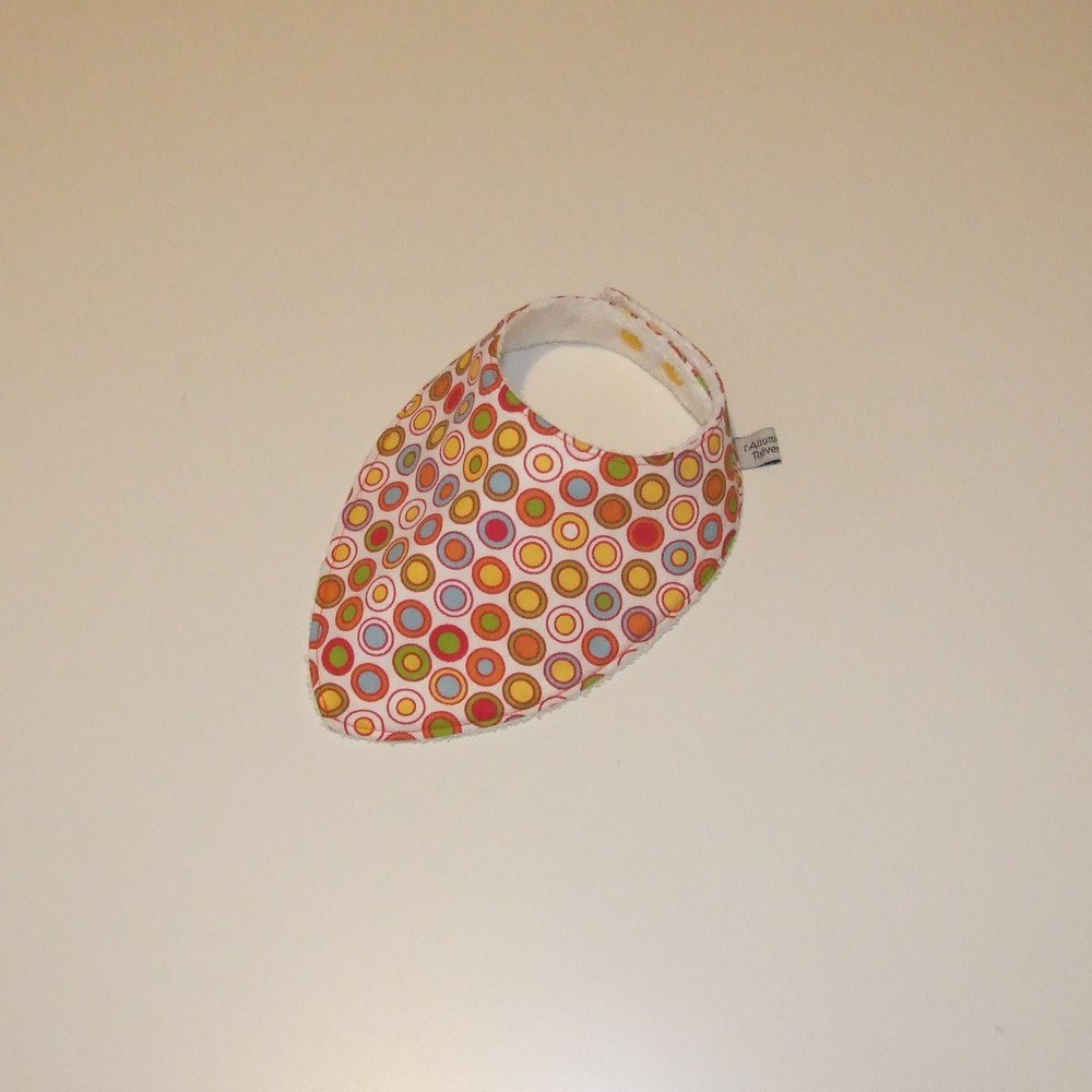 Bavoir bandana imprimé cercles colorés--9995142069446