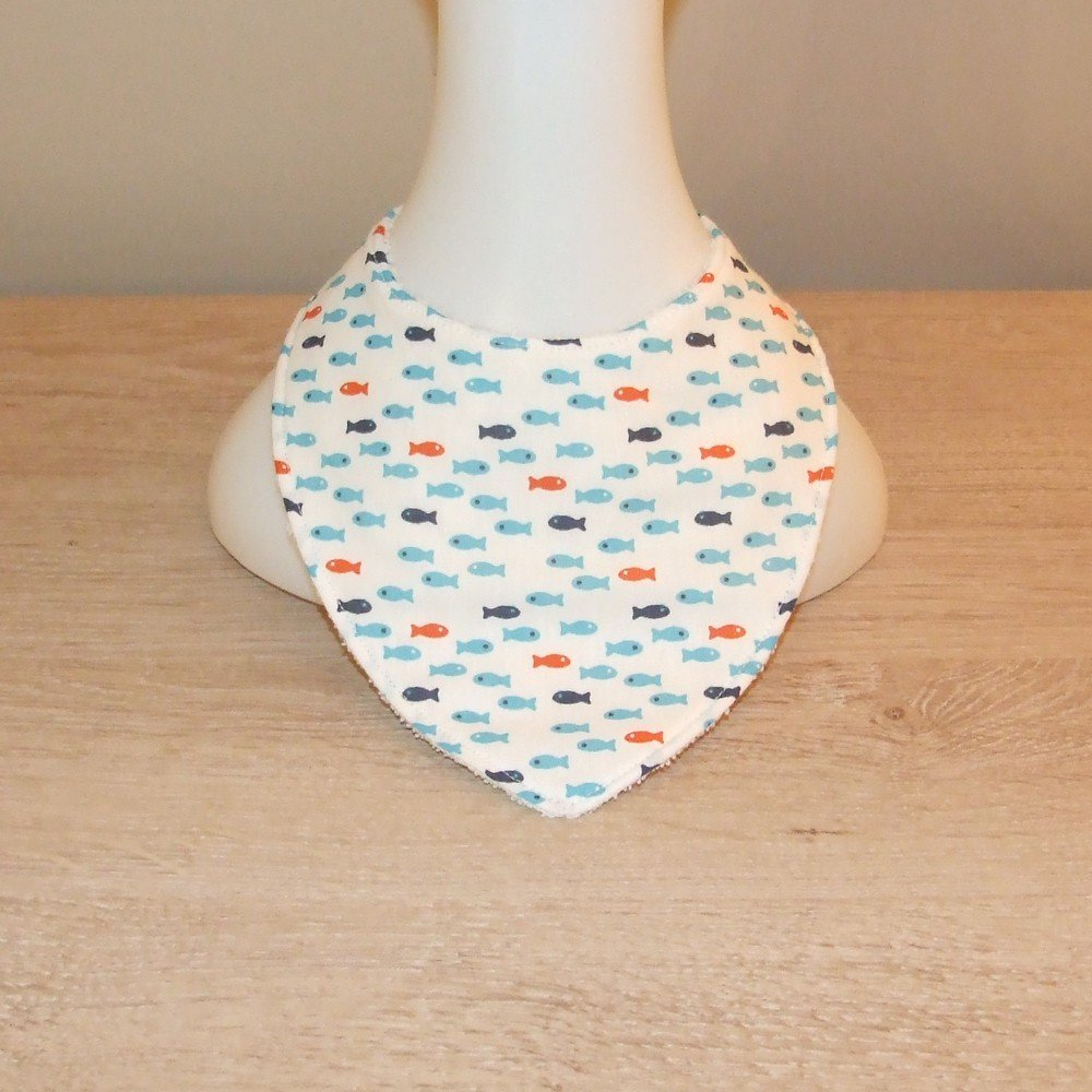 Bavoir bandana imprimé petits poissons--9995628470124