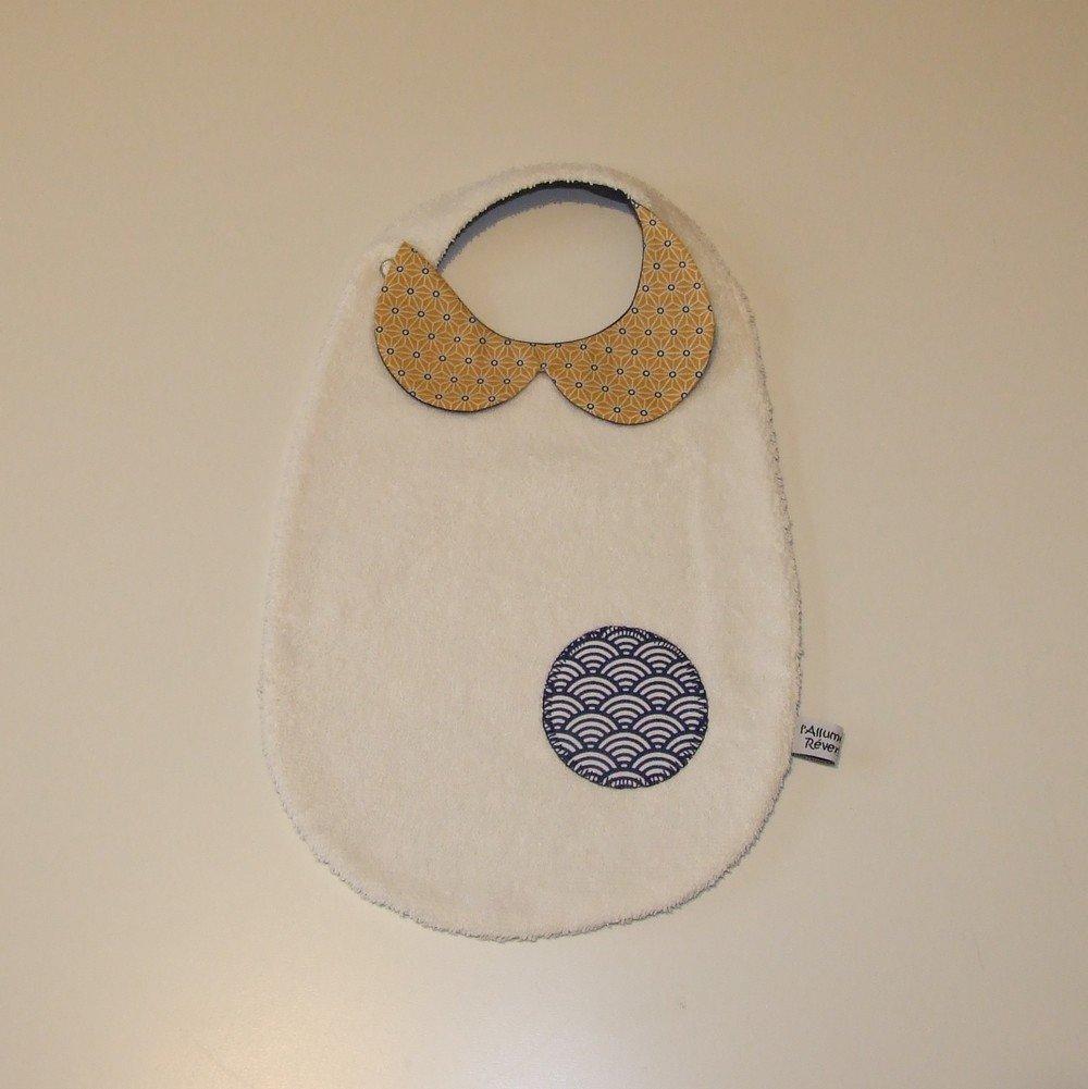 Bavoir col-Claudine en tissu imprimé tissu japonais, vagues et étoiles, bleu marine et jaune--9995142195855