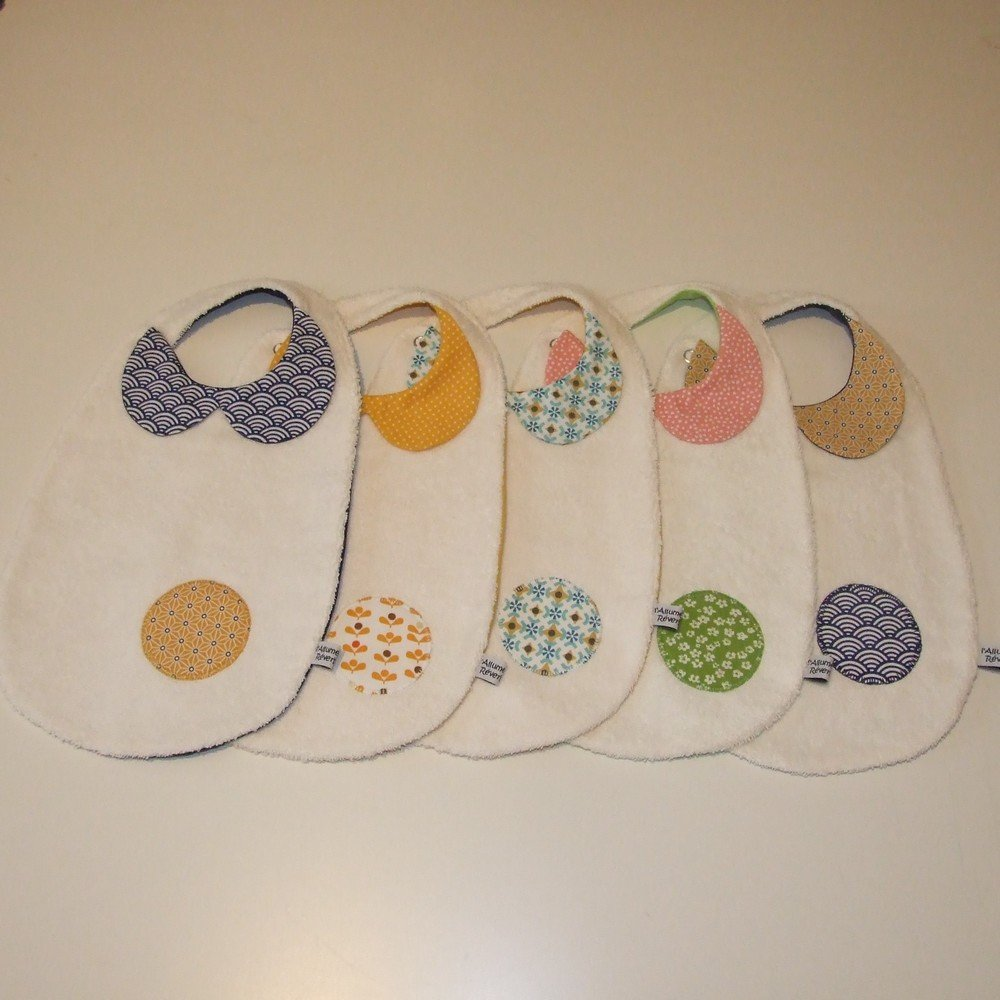 Bavoir col-Claudine en tissu imprimé tissu japonais, vagues et étoiles, bleu marine et jaune--9995142198566