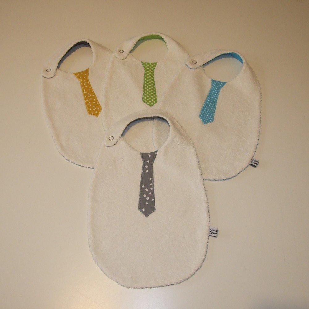 Bavoir cravate imprimé losanges blancs sur fond vert--9995142207312