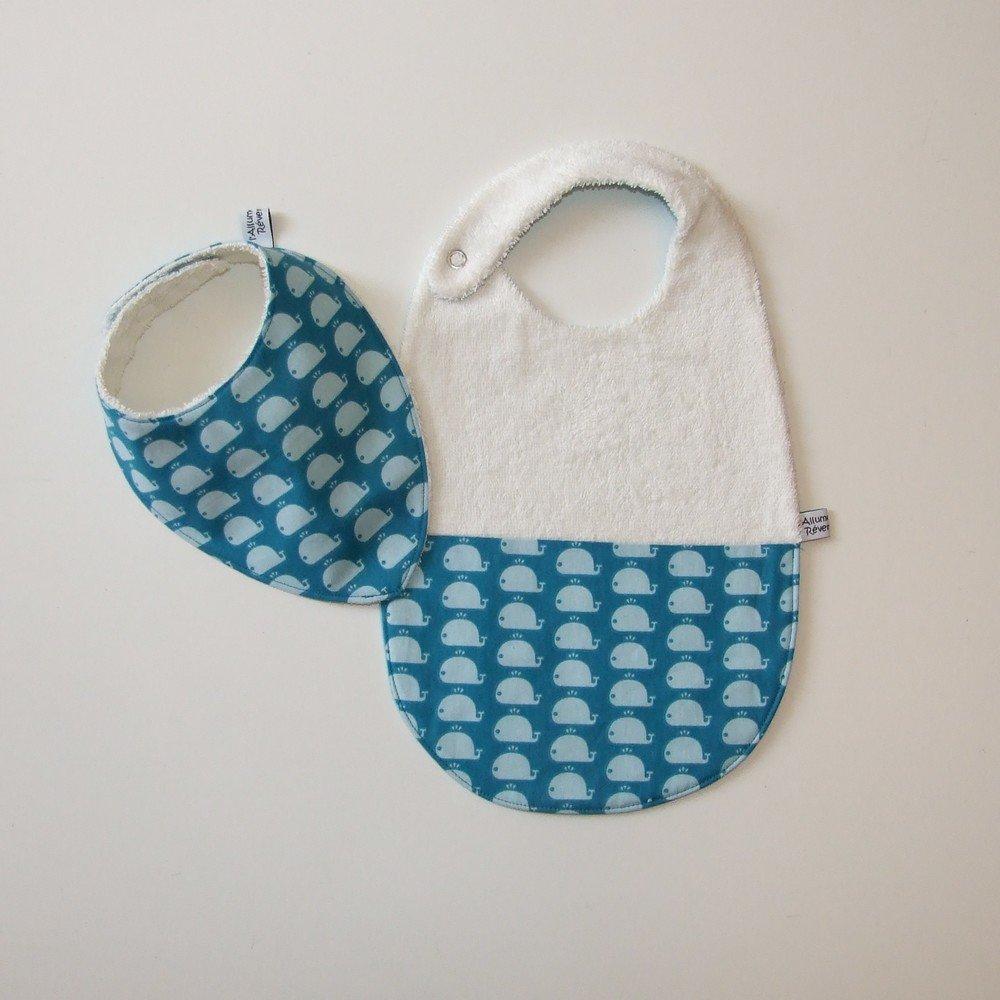 Bavoir et bavoir bandana imprimé baleines bleues--9995289688241