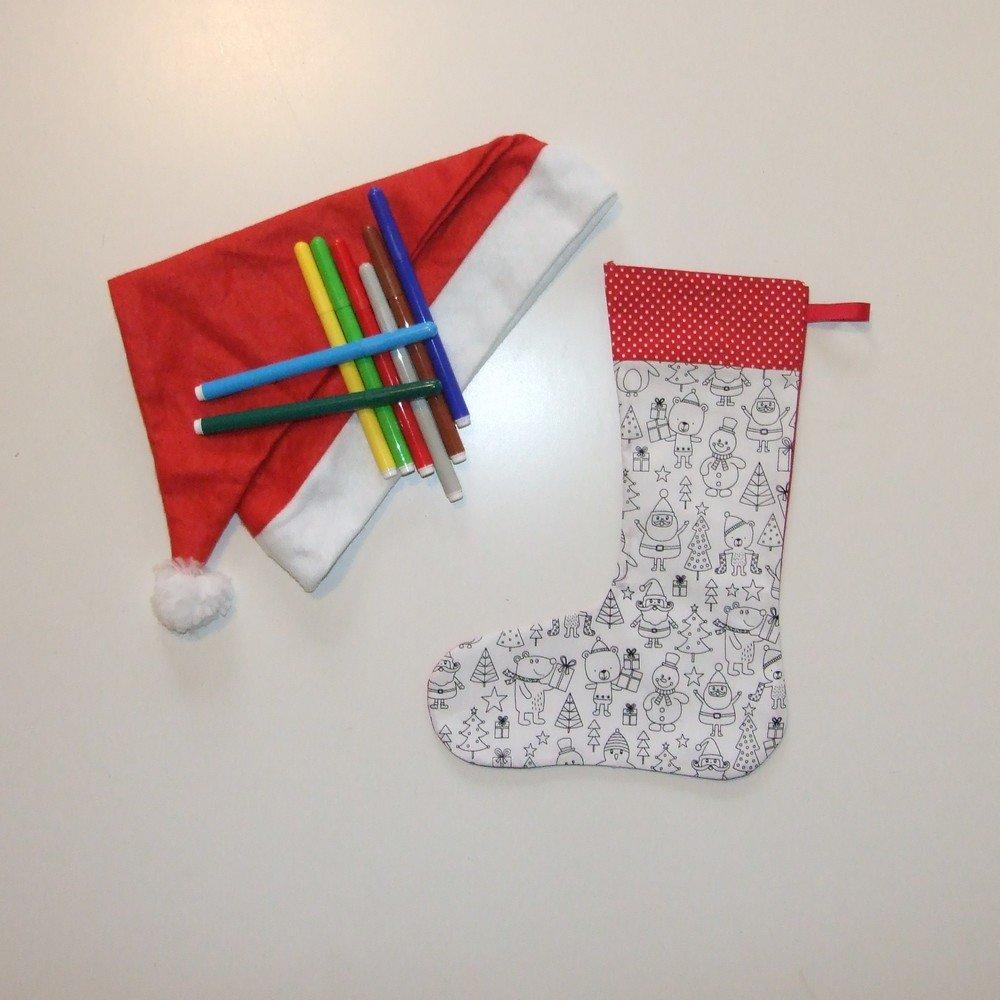 Chaussette de Noël à colorier--9995417578345