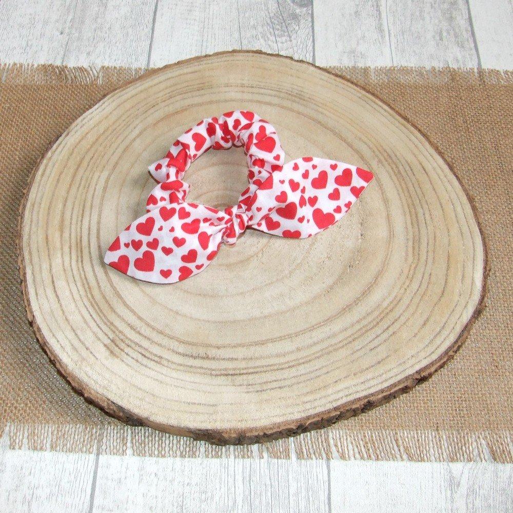 Chouchou noeud -coeurs rouge---9995994185929