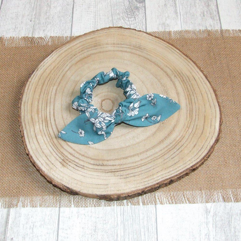 Chouchou noeud -fleurs blanches/bleu canard---9995994168878