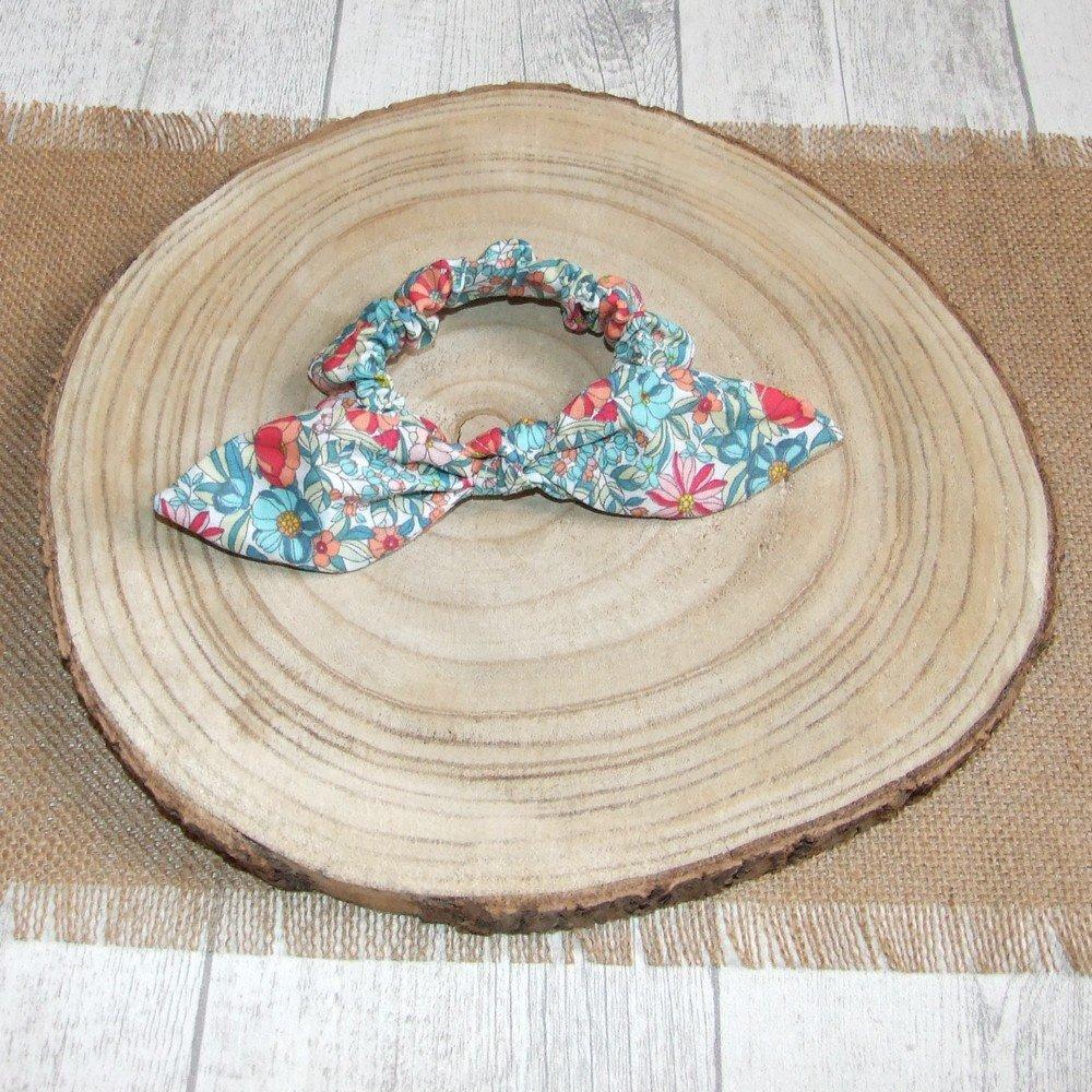 Chouchou noeud -fleurs turquoise/corail---9995994156233