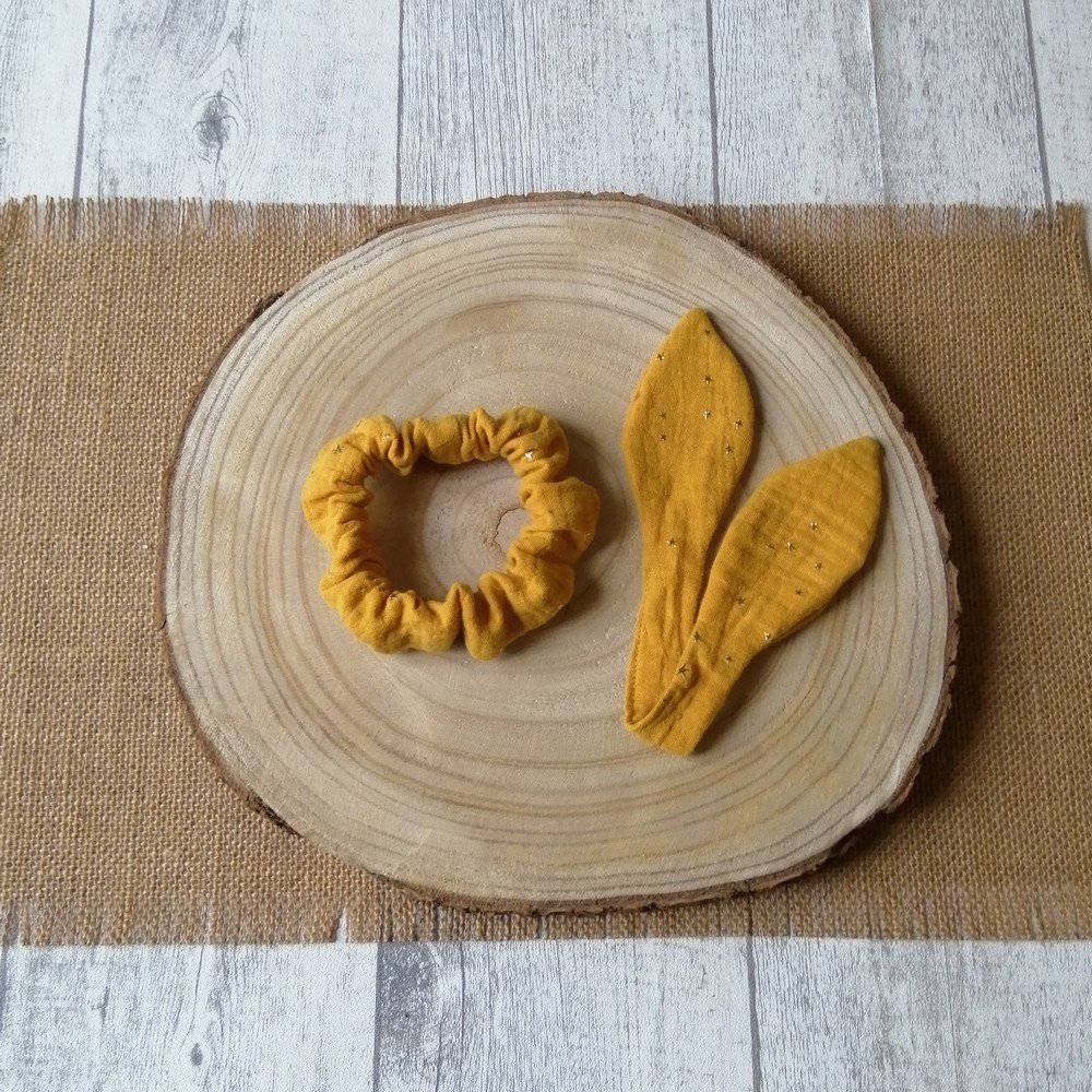Chouchou noeud -moutarde---9995835012209