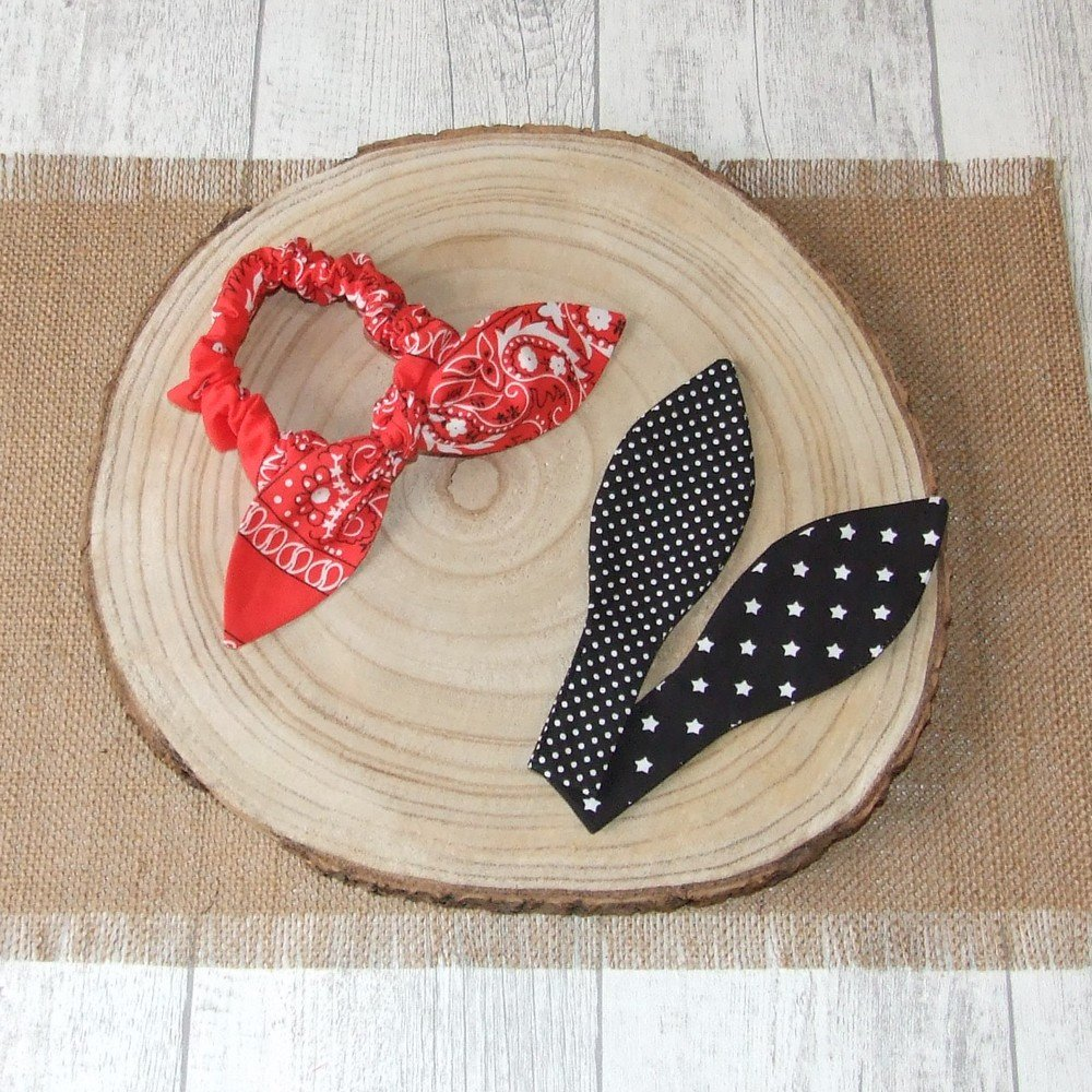 Chouchou noeud bandana, étoiles et pois -rouge/noir---9995795293830
