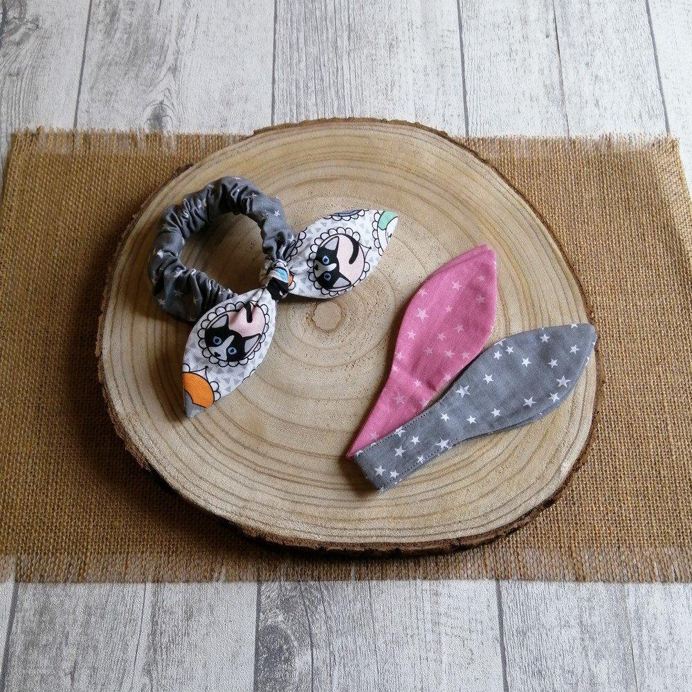 Chouchou noeud étoiles et chats -rose/gris---9995836027592