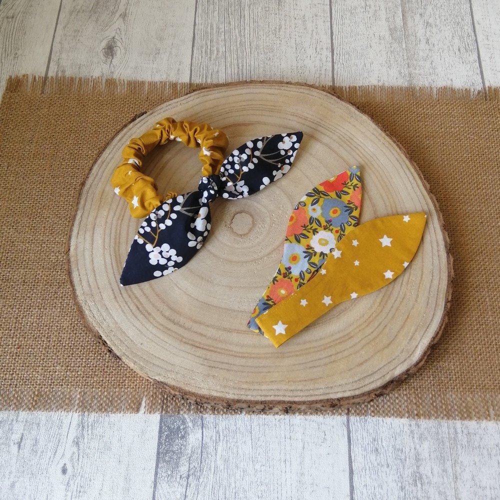 Chouchou noeud étoiles et fleurs -moutarde/bleu marine/rose---9995835940809