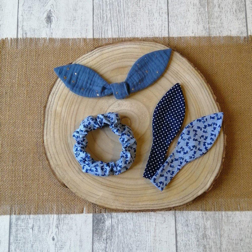 Chouchou noeud fleurs, étoiles et pois -bleu---9995835159249