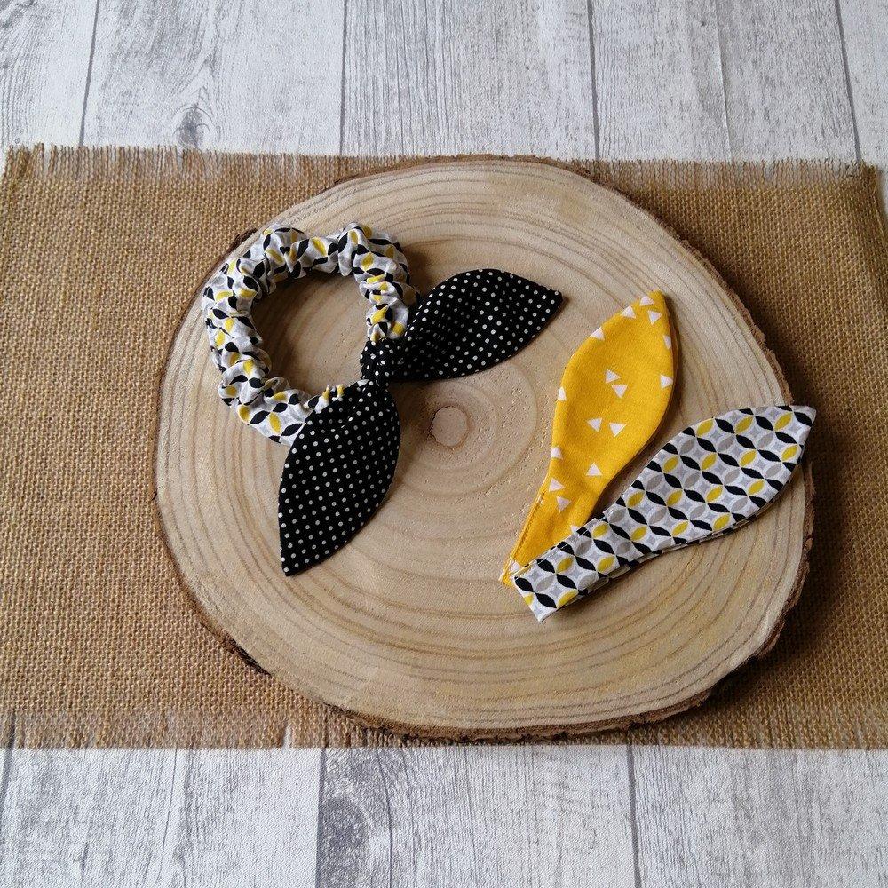 Chouchou noeud graphique et pois -noir/jaune---9995836018156