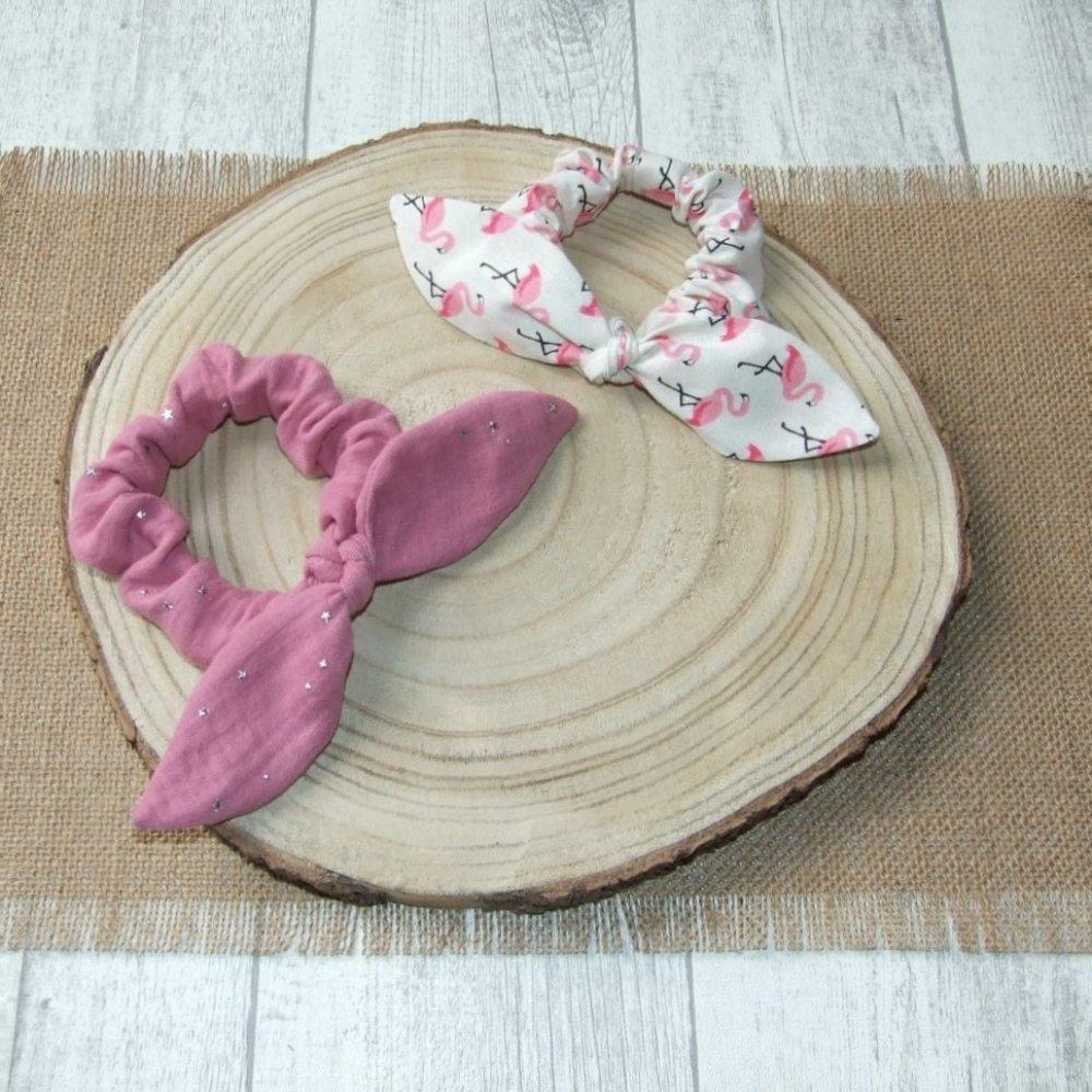 Chouchou noeud rosel et flamants rose--9995922249839