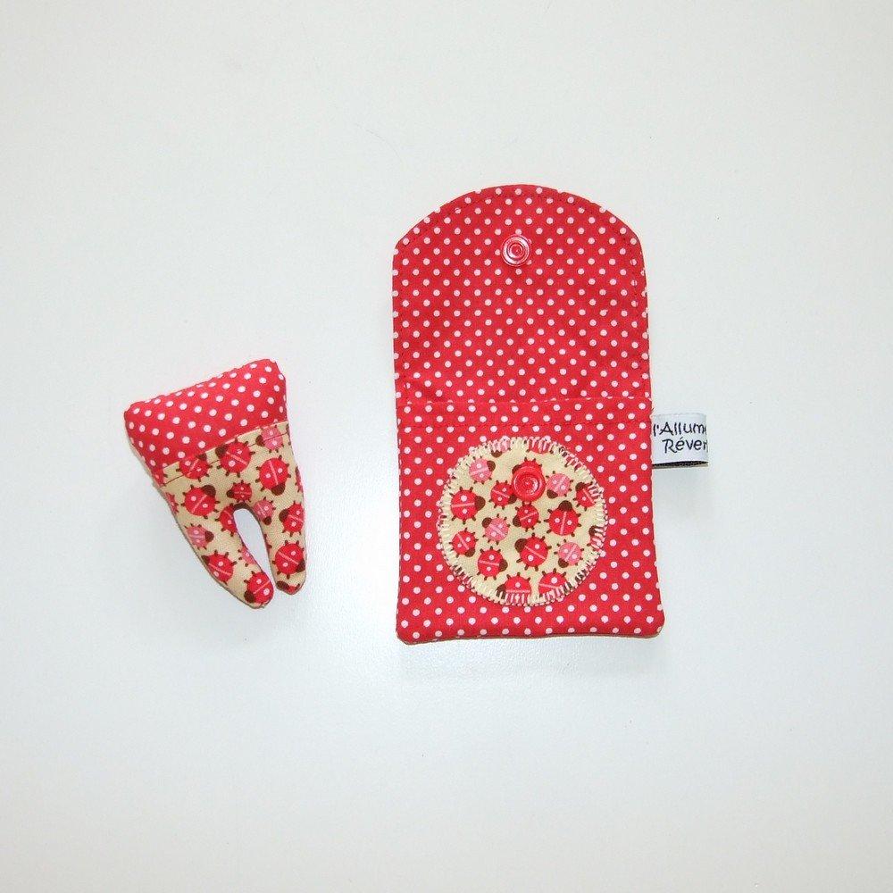 Dent pour la petite souris, imprimé coccinelles et pois--9995365842444