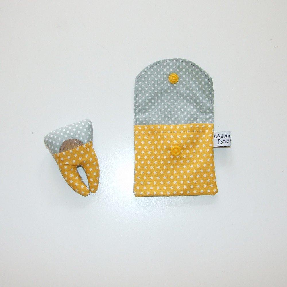 Dent pour la petite souris, imprimé étoiles jaune et pois--9995365888251