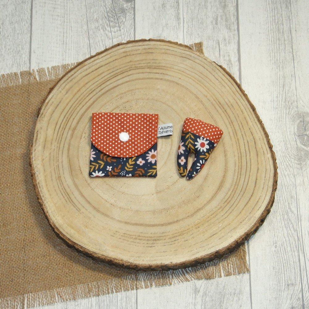 Dent pour la petite souris, imprimé feuille/fleurs et pois--9996052844949