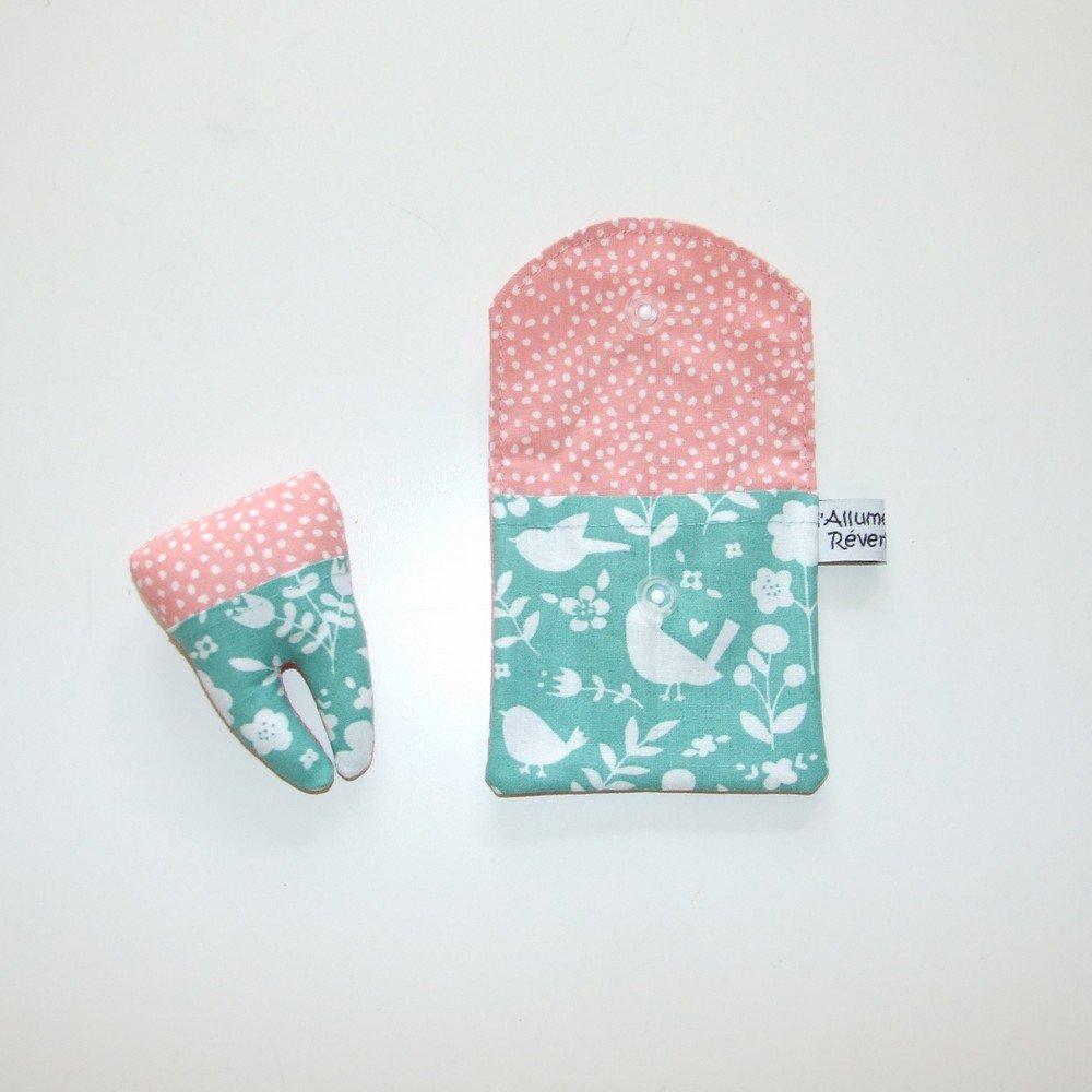 Dent pour la petite souris, imprimé fleurs/oiseaux et pois--9995365844042