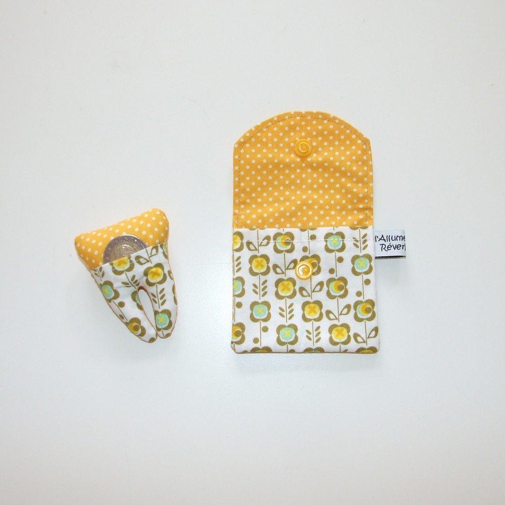 Dent pour la petite souris, imprimé fleurs rétro jaunes et pois--9995365831516