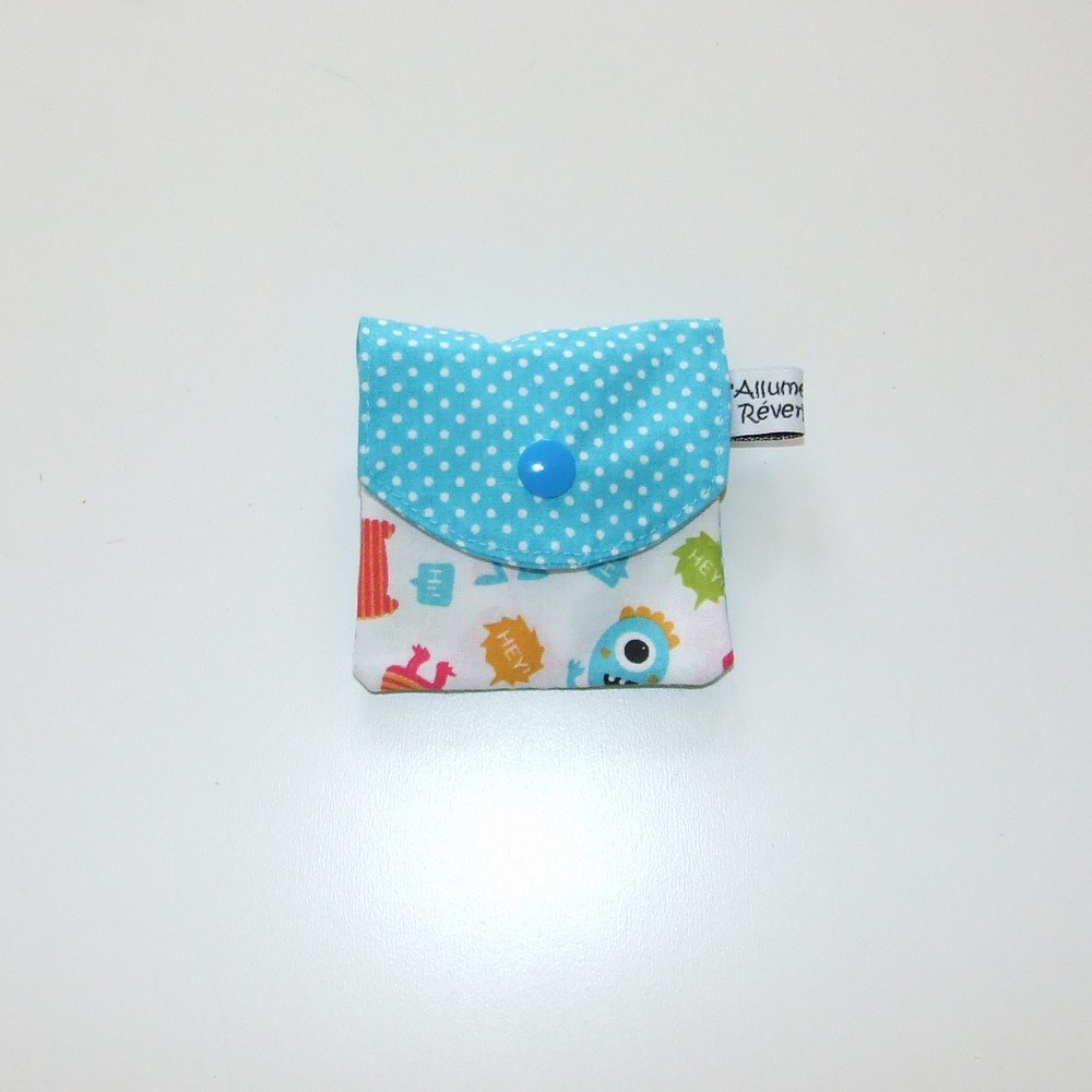 Dent pour la petite souris, imprimé petits monstres bleus et pois--9995365877422
