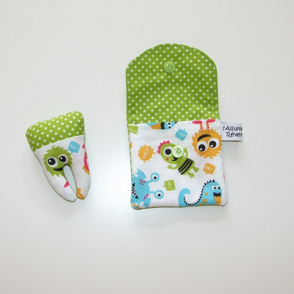 Dent pour la petite souris, imprimé petits monstres verts et pois--9995365868536