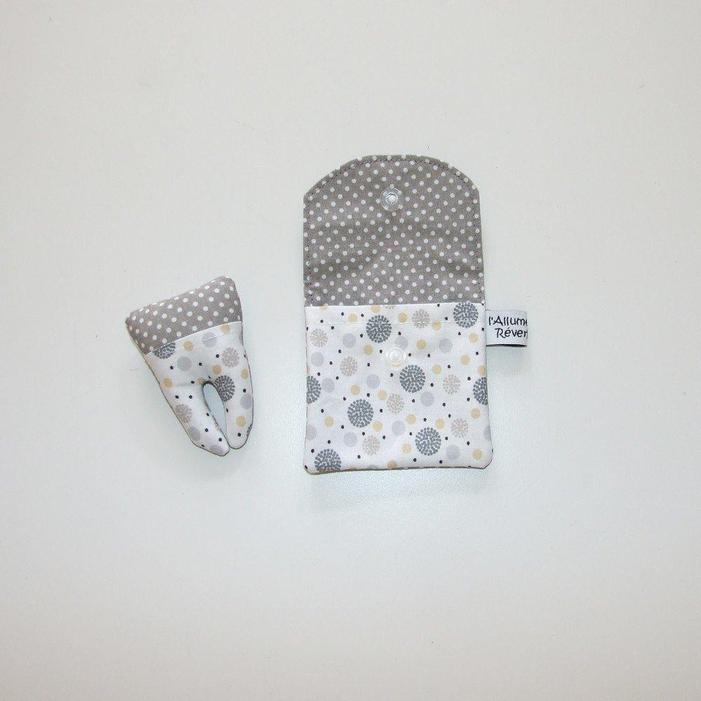 Dent pour la petite souris, imprimé ronds gris, jaune et pois--9995365886301
