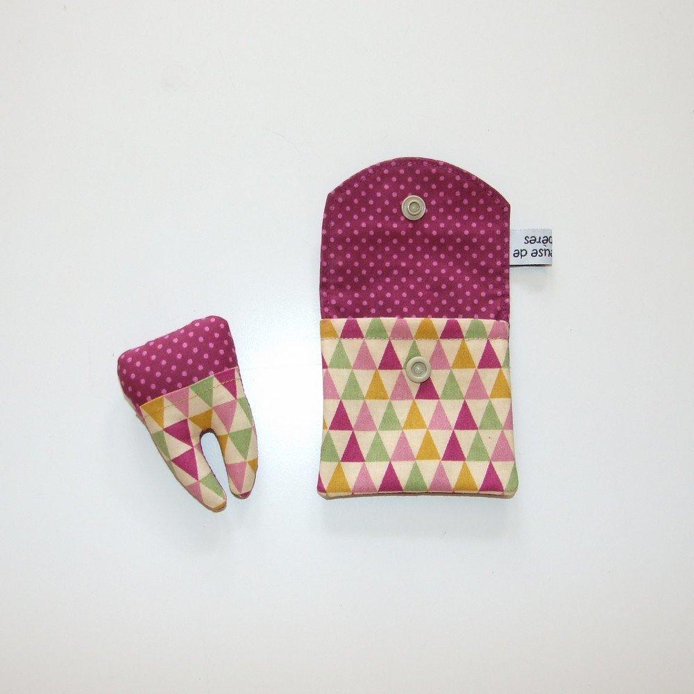 Dent pour la petite souris, imprimé triangles pastel et pois--9995365839598