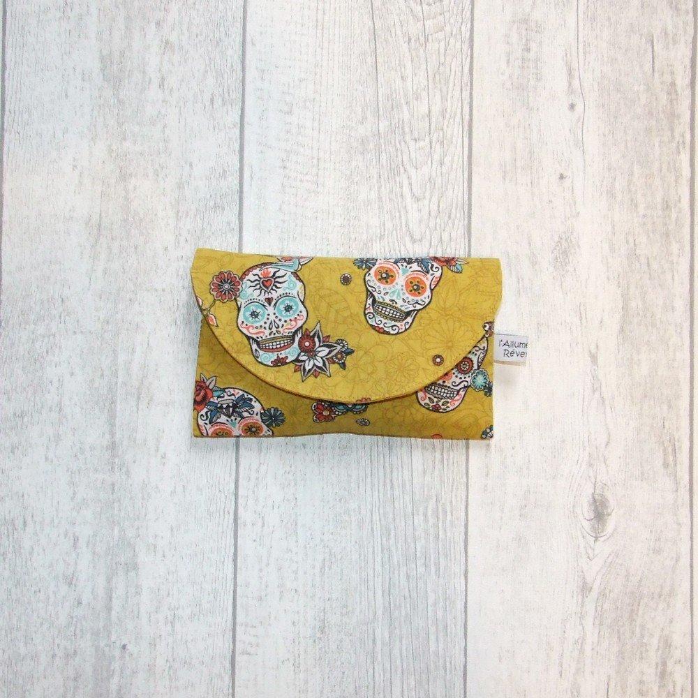 Lingettes démaquillantes lavables tissu calavera, éponge jaune--9995722888412