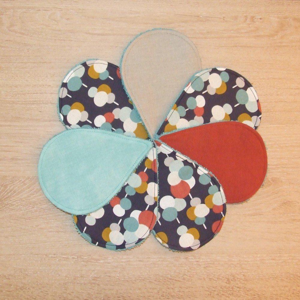 Lingettes démaquillantes lavables tissu cercles colorés, éponge bleue--9995565219923
