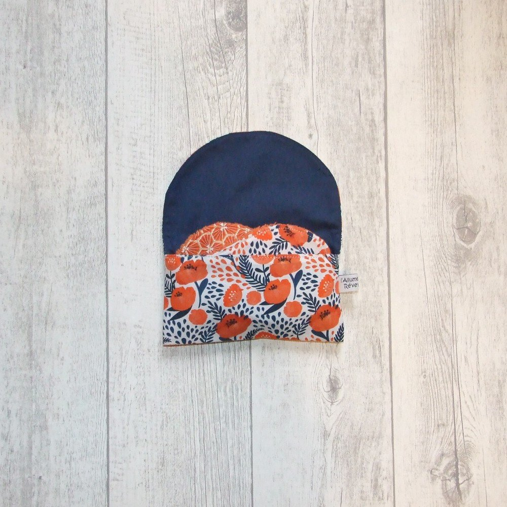 Lingettes démaquillantes lavables tissu coquelicots, éponge orange--9995722952748