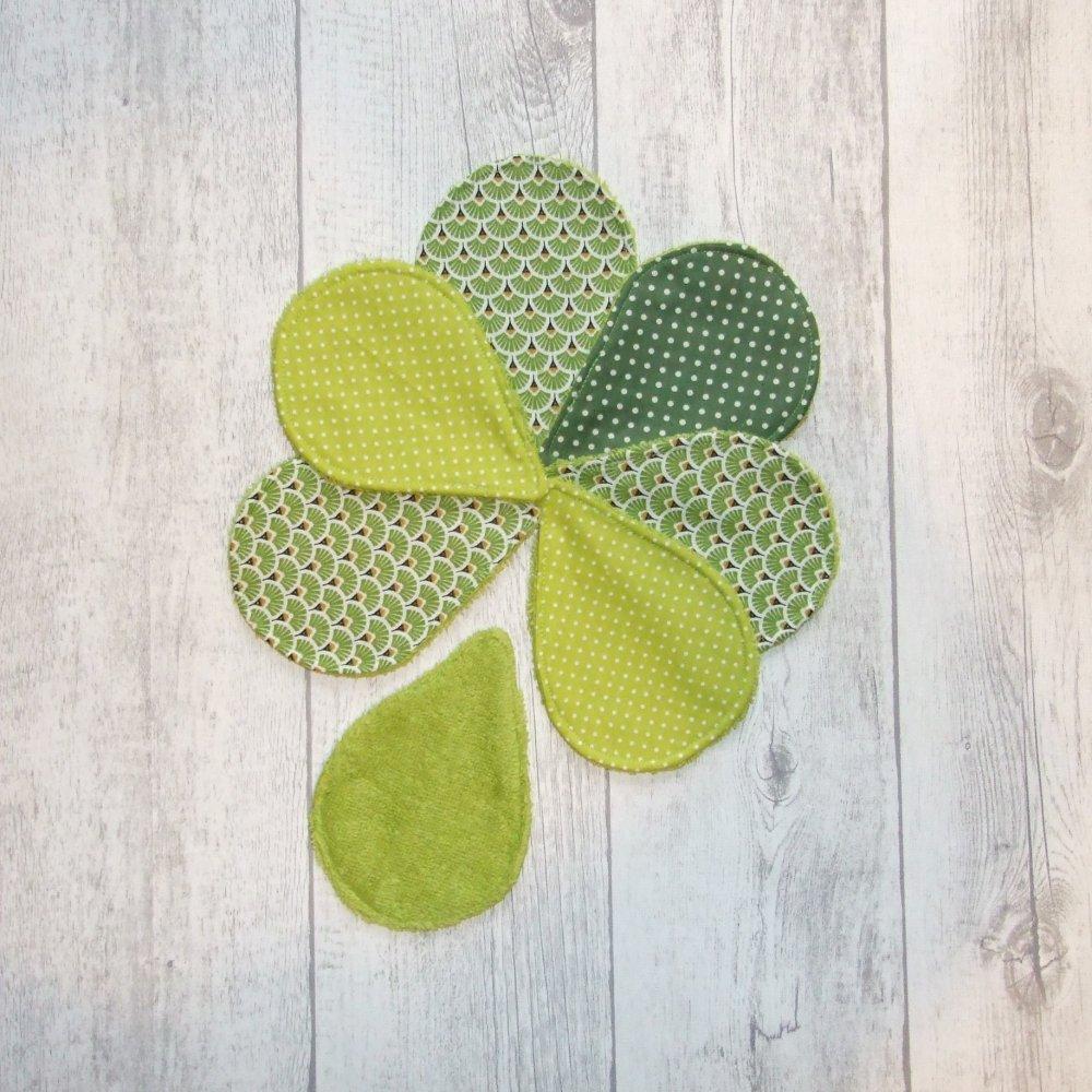 Lingettes démaquillantes lavables tissu éventails verts, éponge verte--9995565264374