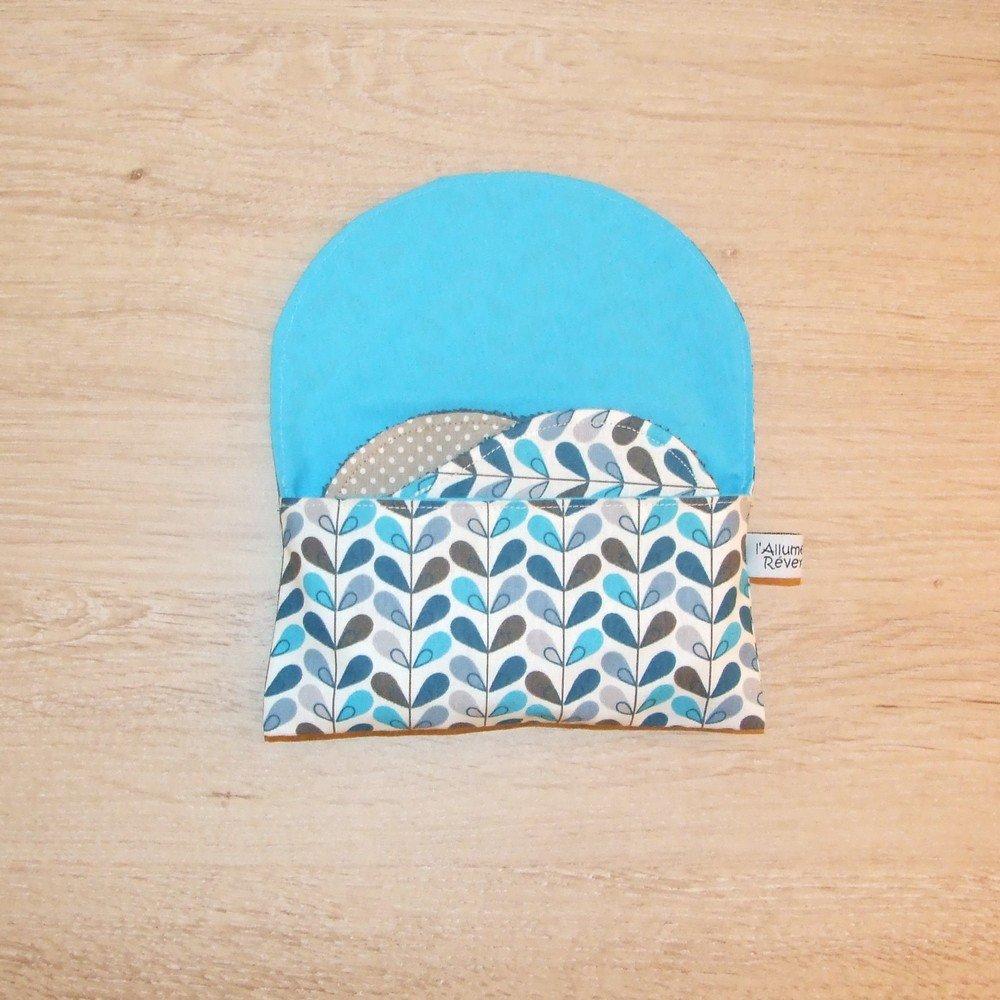 Lingettes démaquillantes lavables tissu feuilles bleues, éponge pétrole--9995565228895