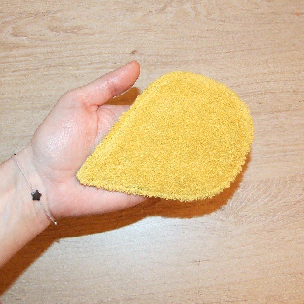 Lingettes démaquillantes lavables tissu feuilles jaunes, éponge grise--9995565234148