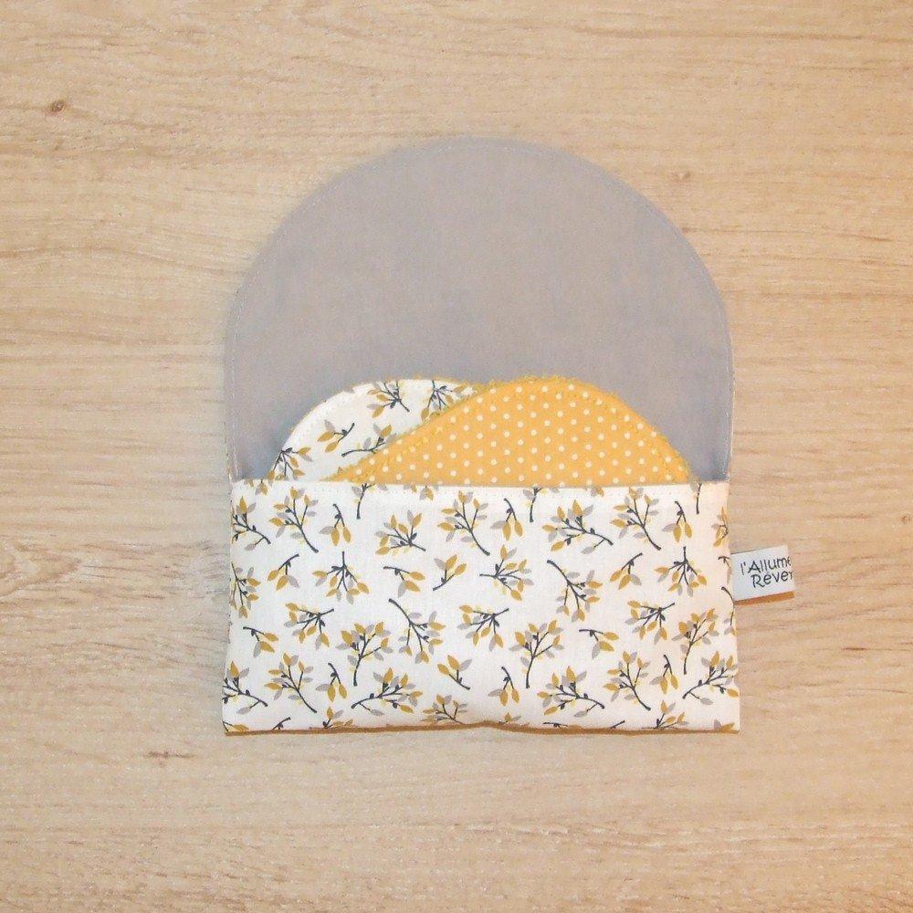Lingettes démaquillantes lavables tissu feuilles et pois, éponge jaune--9995613711249