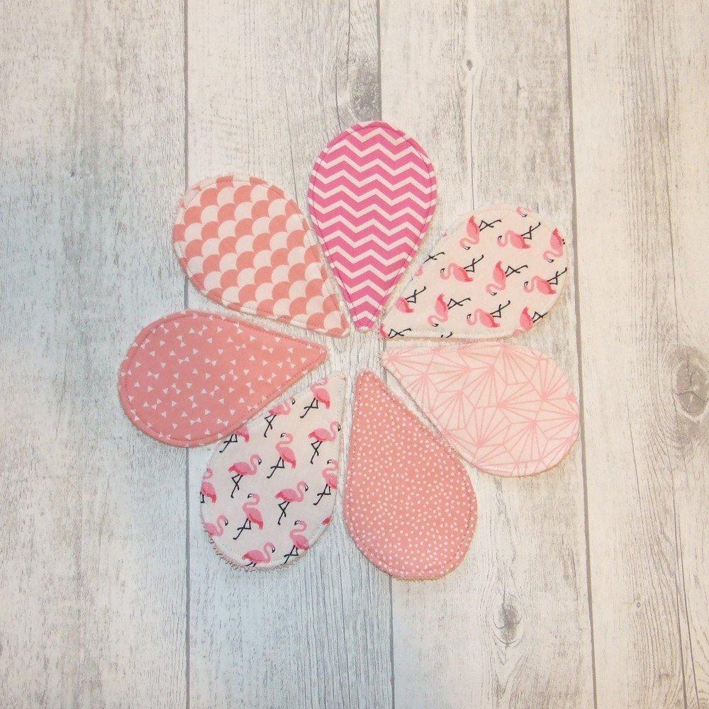 Lingettes démaquillantes lavables tissu flamants rose, éponge saumon--9995723345471