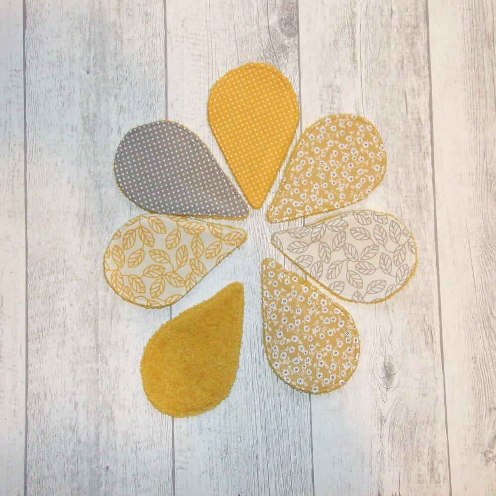Lingettes démaquillantes lavables tissu fleurs, éponge jaune--9995722894765