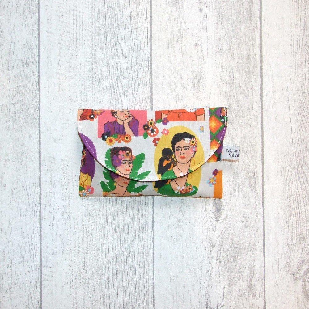 Lingettes démaquillantes lavables tissu Frida Kahlo, éponge violette--9995722904846
