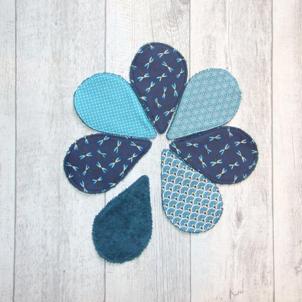 Lingettes démaquillantes lavables tissu libellules, éponge bleu pétrole--9995722821501