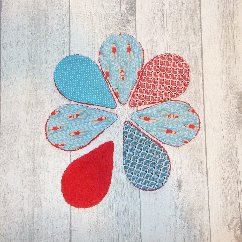 Lingettes démaquillantes lavables tissu nageuses, éponge rouge--9995722483044