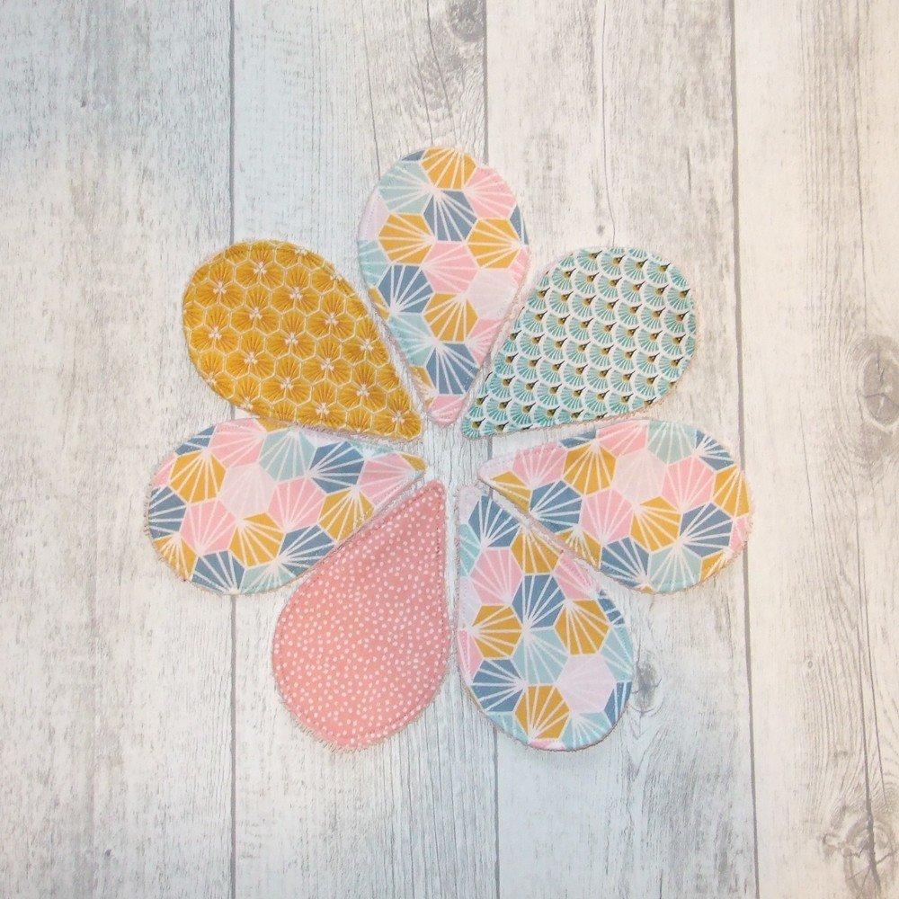 Lingettes démaquillantes lavables tissu origami, éponge saumon--9995722983759