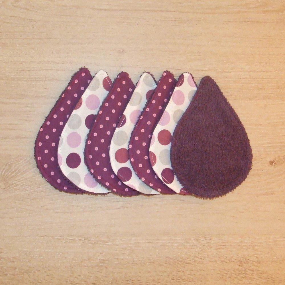 Lingettes démaquillantes lavables tissu pois, éponge violette--9995565202888