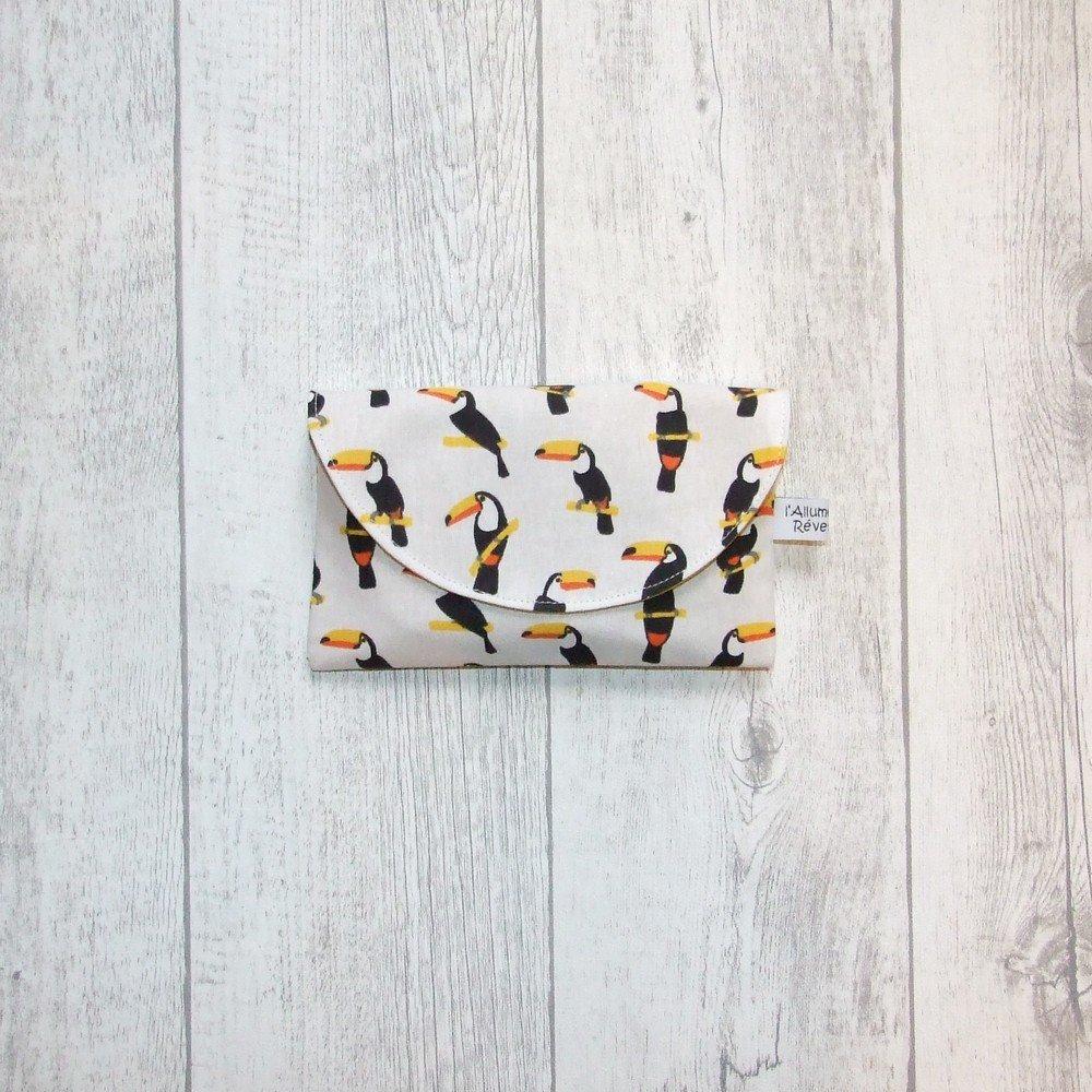 Lingettes démaquillantes lavables tissu toucans, éponge jaune--9995722880874