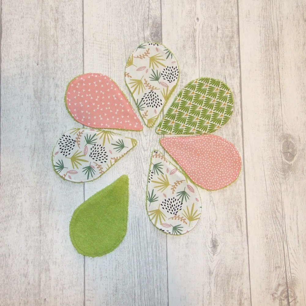 Lingettes démaquillantes lavables tissu végétal, éponge verte--9995723351762