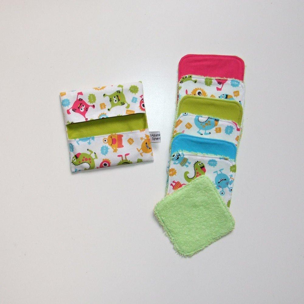Lingettes lavables par 7 imprimé petits monstres colorés dans les tons bleu, verte, jaune et fuchsia--9995117135749