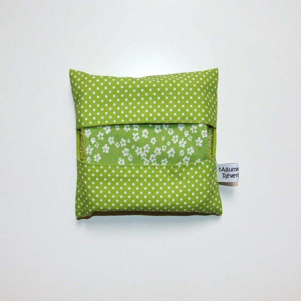 Lingettes lavables par 7 imprimé fleurs et pois vert et blanc--9995117153286