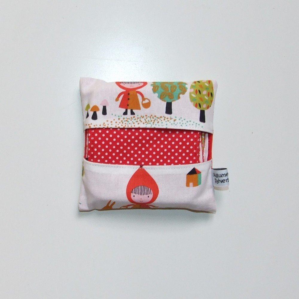 Lingettes lavables par 7 imprimé chaperon rouge et pois--9995117154634