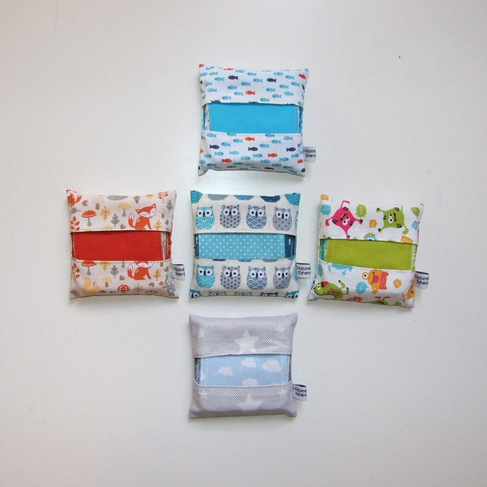 Lingettes lavables par 7 imprimé crabes et sardines dans les tons bleu et terre cuite--9995117134148
