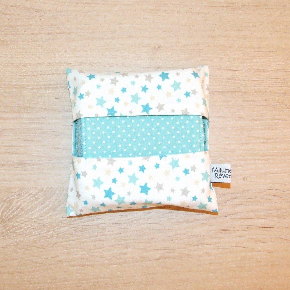 Lingettes lavables tissu étoiles, éponge bleue--9995613818344