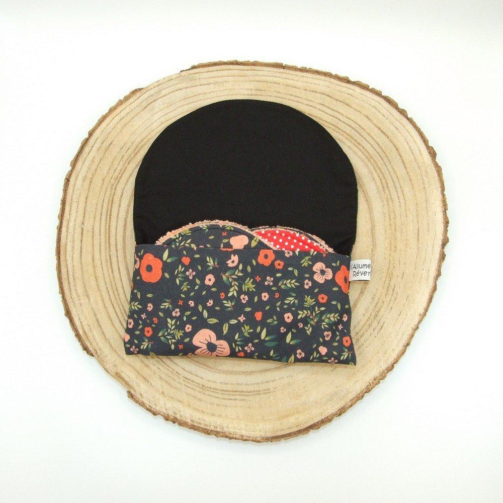 Lingettes lavables tissu fleurs rouge, éponge saumon--9996119152666
