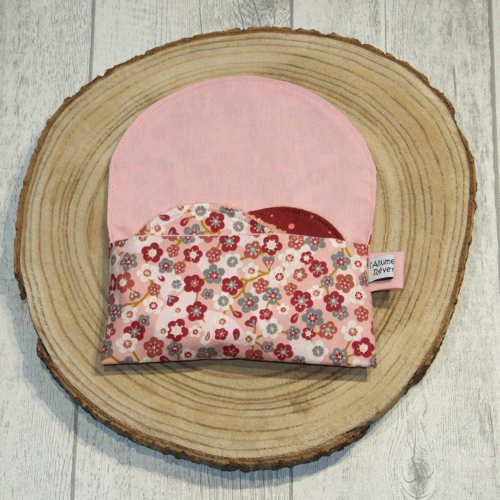 Lingettes lavables tissu fleurs lie de vin/rose, éponge saumon--9996053650976
